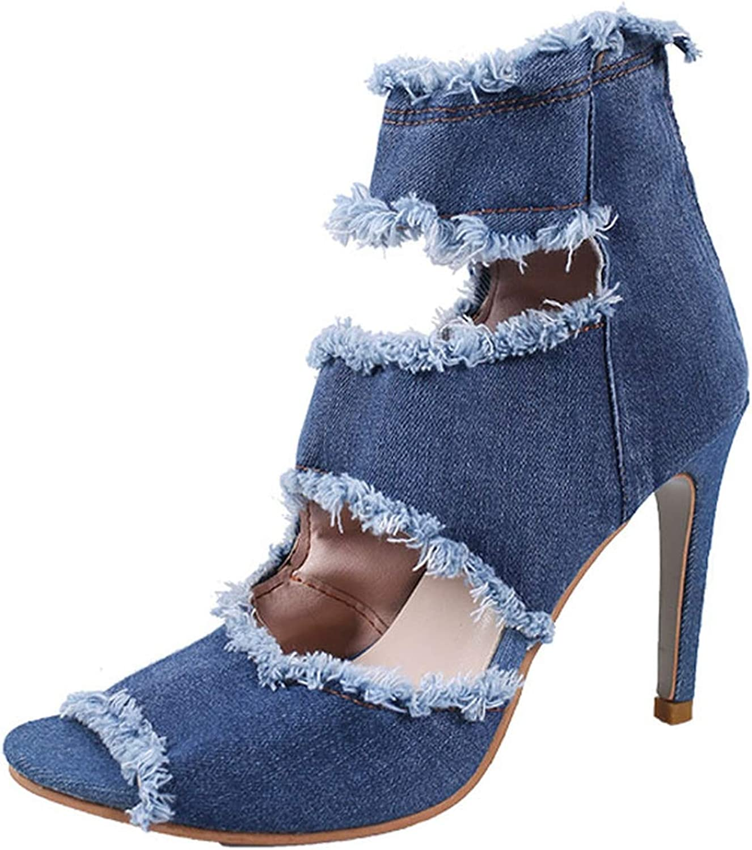 Small Basketball Women Summer high Heels Ankle Boots Sexy Peep Toe Lady Evening Hollow Zipper Denim Sandals