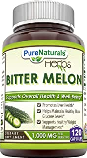 Pure Naturals Bitter Melon 1000 Mg 120 Capsules, Promotes Liver Health, Helps Maintains Healthy Blood Glucose Level, Suppo...