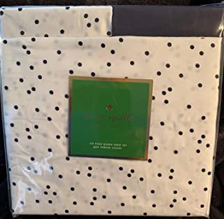KS Kate Spade Queen 6 Piece Sheet Set White with Black Polka dots 100% Cotton 300 Thread Count for up to 18 inch Mattress