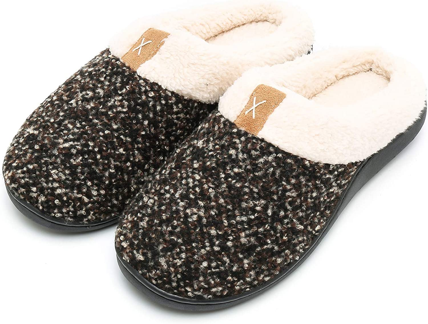 Caissip Women's Cozy Memory Foam Slippers Fuzzy Wool-Like Plush Fleece Lined House shoes w Indoor Outdoor