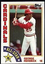 1984 Topps Baseball #386 George Hendrick St. Louis Cardinals AS Official MLB Trading Card Sharp Corners Guaranteed