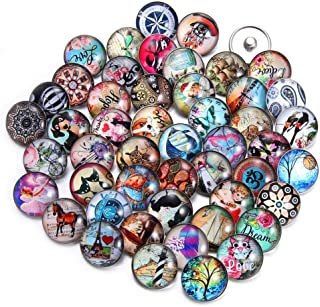 20 PCS Snap Jewelry Charms Glass Snap Button Set Fancy DIY Accessories for Crafts Sewing Arcade Women (HM108)