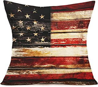 Smilyard America Retro Wood Grain Flag Pillow Covers Cotton LinenRed and White Stripes Decorative Throw Pillowcase Square Cushion Cover for Outdoor Indoor Home Sofa 18x18 Inch (US Flag 01)