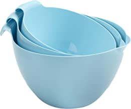 Linden Sweden 3-Piece Mixing Bowl Set - Includes 1.5, 2 and 2.5-qt Bowls with Handles and Easy-Pour Spouts - Stackable for Space-Saving Storage - Dishwasher and Microwave-Safe, Light Blue