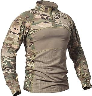 CARWORNIC Men's Tactical Military Assault Combat Shirt Long Sleeve Slim Fit Camo T Shirt with Zipper