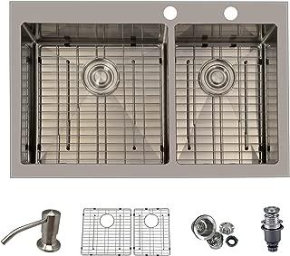 PRIMART PHT33DOX Handmade 33 X 22 Inch 60/40 Double Bowls 16 Gauge Stainless Steel Top mount Kitchen Sinks Drop in 9-Ga Extra Thicker Deck W/Bottom Grid Sink Strainer Soap Dispenser