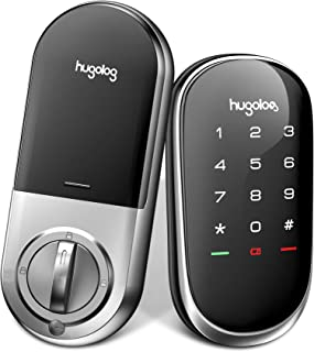 Hugolog Smart Lock ,Touchscreen Deadbolt Remote Wireless Control & Bluetooth Keyless Door Entry Easy Installation and Program High Security Material for Metal Home & Office