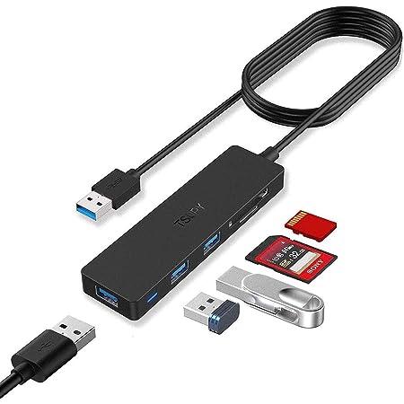 TSUPY Hub USB 3.0 con Cable de 1,2m Ladrón USB 3.0 3 Puertos e 5Gbps Lector de Tarjetas SD/TF Adaptador USB 3.0 para PC, Portátil, MacBook, PS4, Xbox, Unidades Flash USB