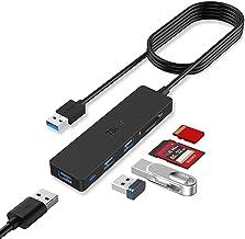 TSUPY Hub USB 3.0 con Cable de 1,2m Ladrón USB 3.0 3 Puertos e 5Gbps Lector de Tarjetas SD/TF Adaptador USB 3.0 para PC, P...