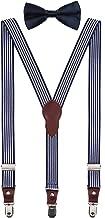 Shark Tooth Boys' Men's Suspenders and Bow Tie Set Y-Back Adjustable