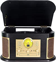 Record Player,DLITIME 3-Speed Vinyl Turntable Built-in 2 Bluetooth Speakers, Headphone Jack/Aux In/RCA/LED/USB/MP3/CD/CASSETTE/FM/AM Radio Player