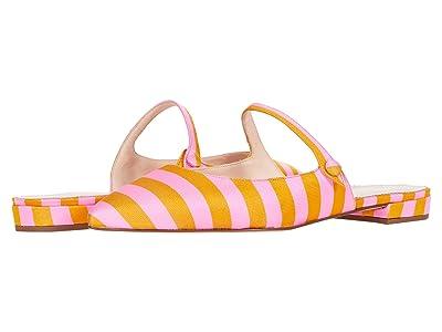 J.Crew Striped Tie Silk Button Tab Harlech Mule (Bubble Gum Marigold) Women