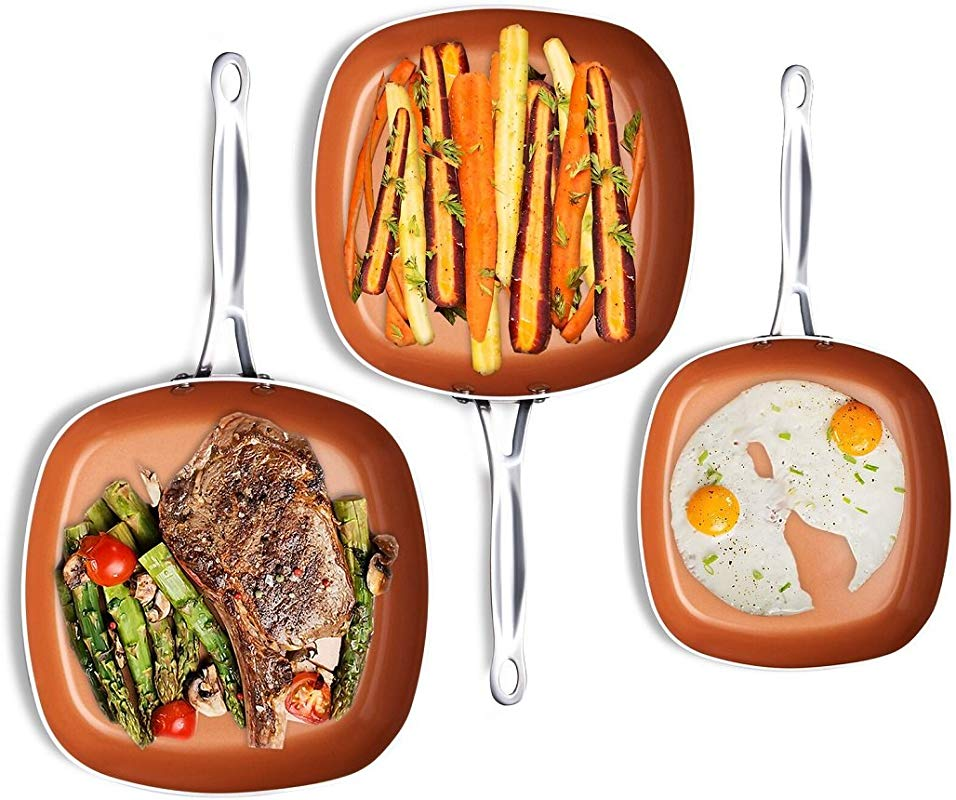 Gotham Steel 1682 Nonstick Copper Square Shallow Pan 3 Piece Cookware Set As Seen On TV By Chef Daniel Green Large Brown