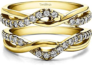 TwoBirch 0.24 Ct. Criss Cross Infinity Ring Guard Enhancer in Sterling Silver with Cubic Zirconia