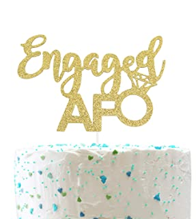 Engaged Af CakeTopper for Bride to Be Engagement Wedding Party Decorations (Double Sided Gold Glitter)
