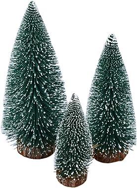 Funpa 3PCS Christmas Mini Artificial Tree Miniature Fake Cedar Tree Table Decor with Wooden Base