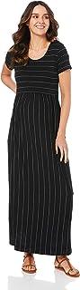 Ripe Maternity Women's Maxi Crop Top Nursing Dress, Black/Flint