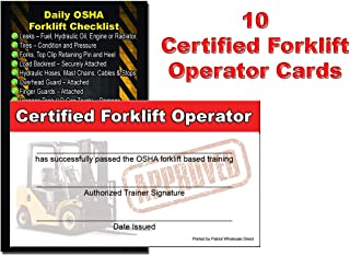 Patriot Wholesale Direct Forklift Operator/Driver Certificate, Training Cards (Package of 10)