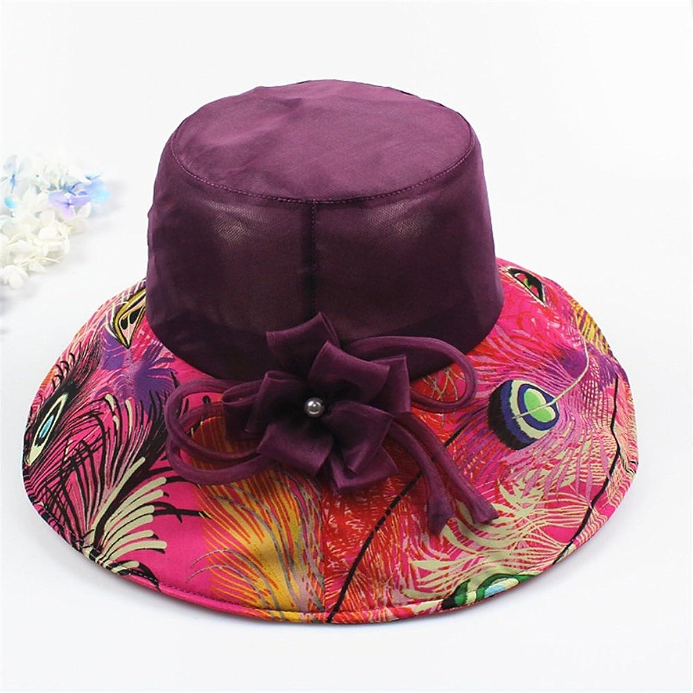Women's Hat Silk Hat Spring Summer Sun Hat Pure color Flower Decoration Hat