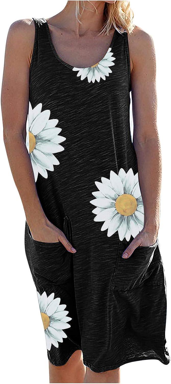 Toeava Women Summer Tank Dress Women Print Sleeveless Short Dress Casual Daily Loose Flowy Swing Dress Beach Party Dress