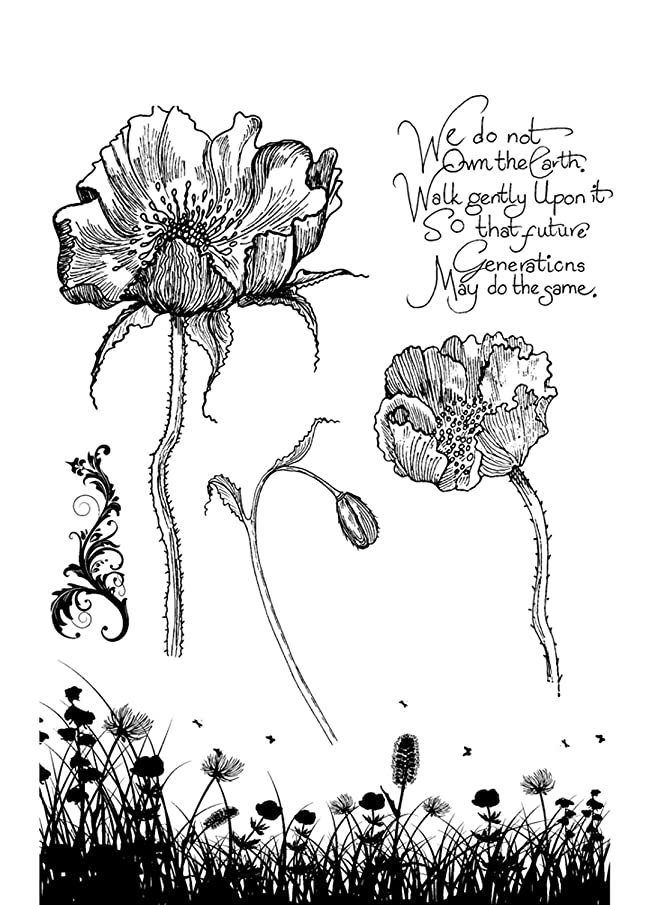 IndigoBlu PMIMTD Cling Mounted Stamp, 9.25 by 6.25-Inch, Poppy Meadow
