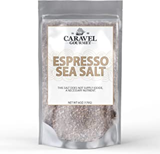 Espresso Sea Salt 6 Ounce Refill Pouch - All-Natural Infused Sea Salt Blend - No Gluten, No MSG, Non-GMO - Cooking and Finishing Salt, Great on Desserts and Coffee - Caravel Gourmet