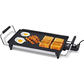 """Elite Gourmet EGR-4423 Electric Griddle, Cool-Touch Handles Non-Stick Surface, Removable/Adjustable Thermostat, Skid Free-Rubber Feet, 17"""" x 9"""", Black"""
