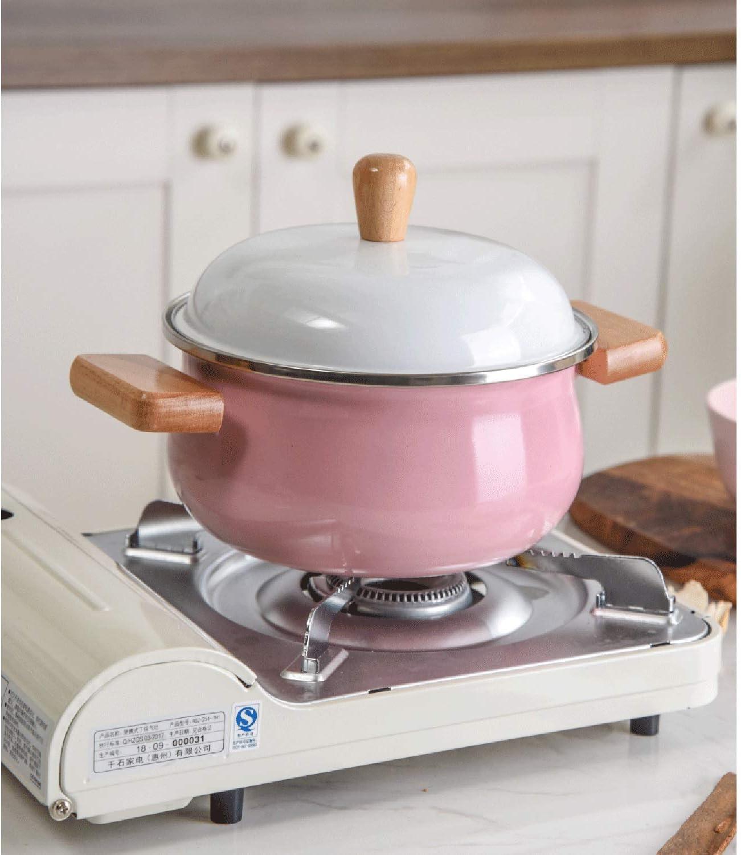LEILEI Pot en émail Petit Pot à Lait,Pot à ragoût épais avec Couvercle,Pot de complément Alimentaire pour bébé avec poignée en Bois Pink