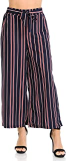 Auliné Collection Womens Wide Leg High Waisted Cropped Palazzo Pants Culottes