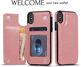 URSpecial iPhone Xs iPhone X Wallet Case with Card Holder, Premium PU Leather Kickstand Card Slots Case,Double Magnetic Clasp and Durable Shockproof Cover (iPhone X 5.8