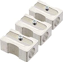 3 PACK: Kum 104.03.01 Magnesium Alloy Metal 1-Hole Steel Blade Rectangular Pencil Sharpeners