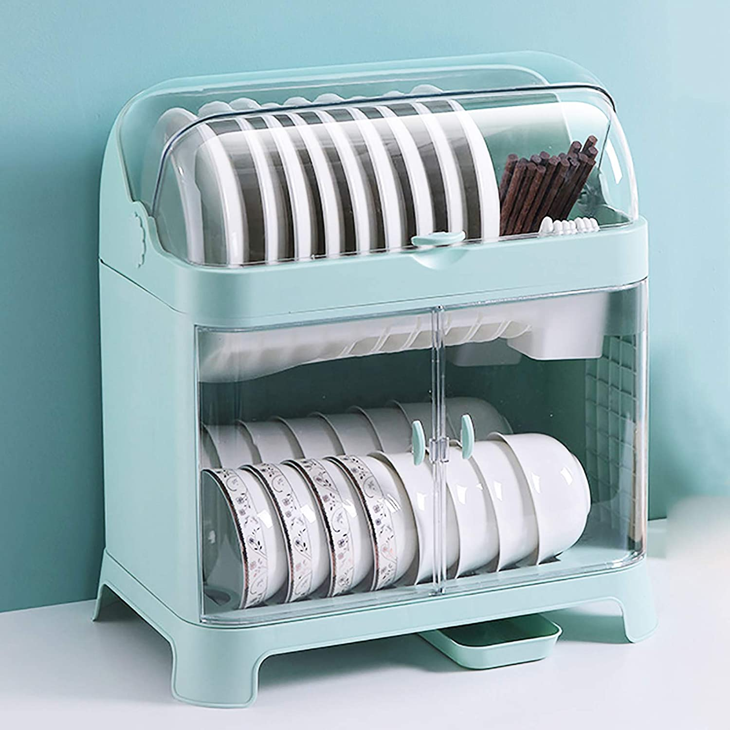 2-Tier online shop Plastic Easy-to-use Dish Drying Covered Kitchen Rack Dustproof