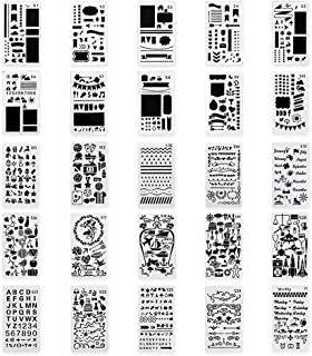 LIDAGO 25 Pieces Journal Stencil DIY Diary Drawing Template Plastic Planner Templates, Diary, Scrapbook,Includes Drawing Stencils, Icons, Charts, Shapes, Much More.