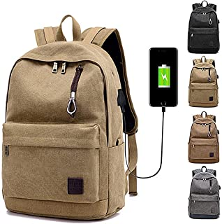 UBORSE Laptop Backpack 17.3 inch Durable Anti Theft Travel Computer backpack casual canvas bag with portable charging external USB for Men Women (Brown)