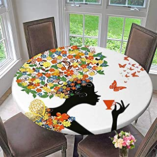 """Round Fitted Tablecloth Silhouette with Hot Tea Cup Butterflies Wings Daisies Poppy Hibiscus Hairstyle Multicolor for All Occasions 47.5""""-50"""" Round (Elastic Edge)"""
