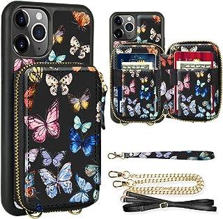 ZVE - Funda tipo portafolios para iPhone 11 Pro con ranura para tarjetas de crédito, cadena cruzada, cierre de cierre, cor...