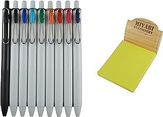 قلم حبر جل ميتسوبيشي يونيبول واحد 0.38 مم، 9 ألوان، بطاقة لاصقة يمكن لصقها وتقشيرها. (UMNS38-9C)