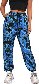 SweatyRocks Women Pants Color Block Casual Tie Waist Yoga Jogger Pants