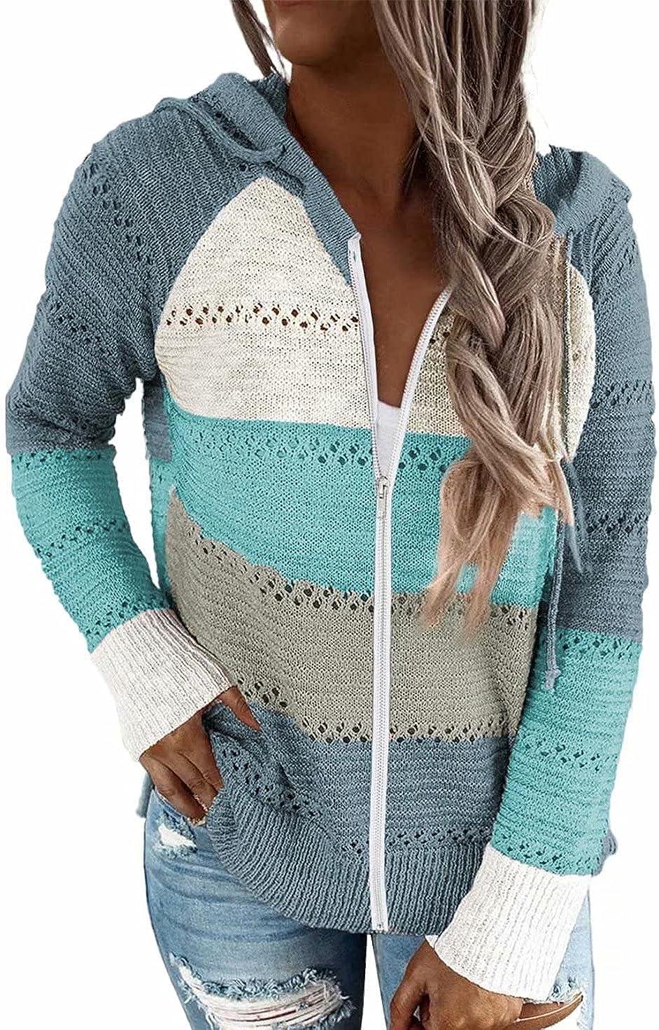 BLENCOT Women Long Sleeve Zip-Up Color Block Knited Hoodie Jacket Coat S-XXXL