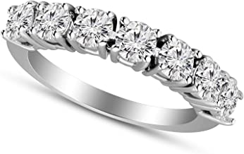 100% Real Diamond Ring Diamond Wedding Band Rings 1-1/4 carat Lab Grown Diamond Rings for Women Lab Created Diamond Rings S-I Clarity 925 Sterling Silver Diamond Jewelry Gifts For Women
