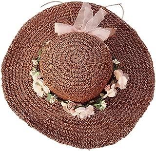 Straw Hat Beach Hat Round Cap Summer Shade Sunscreen Wide Brimmed Hat(Brown)