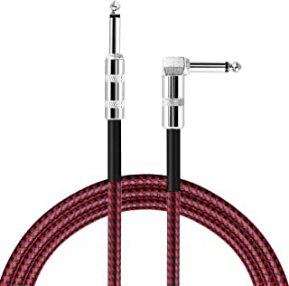 Jhua Guitar Instrument Cable Lead for Electric Guitar Bass Keyboard Effector 3m (10ft), 6.3mm (1/4in) Straight to Right Angle Braided Tweed Plug Cord - Red