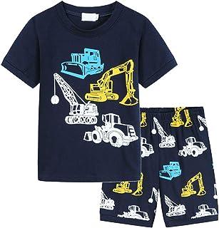 Beudylihy Jungen Kurzarm Zweiteiliger Schlafanzug, Kinder Universum Raumschiff Rakete Drucken Nachtwäsche Jungenkleidung Kurzarm Rocket Planet Print T-Shirt Top  Shorts Zweiteiliger Anzug