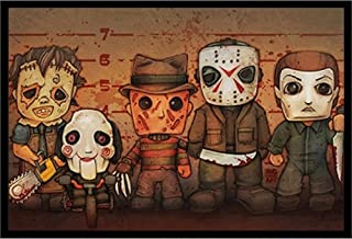 Horror Movie Villains Wall Art Decor Framed Print | 24x36 Premium (Canvas/Painting Like) Textured Poster | Jason Voorhees, Freddy Krueger, Michael Myers & Saw | Scary Halloween Slashers Mask Lineup