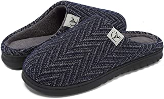 welltree Men's Soft Indoor Slippers Closed Toe Cotton Memory Foam House Shoes Slip on Home Clogs Shoes
