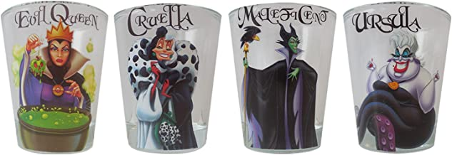 Silver Buffalo DP031SG5 Disney Villains Mini Glass Set, 4-Pack
