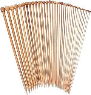 Prochive 2-10 mm Aiguilles à tricoter en bambou Crochet 34-35CM (18 paires)
