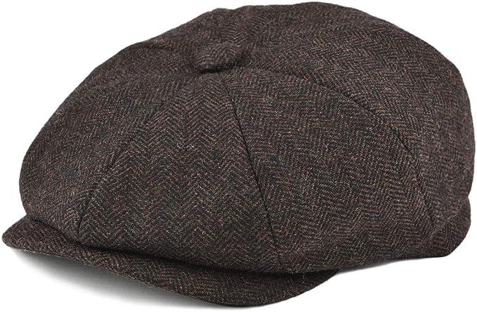 1930s Men's Clothing BOTVELA Mens 8 Piece Wool Blend Newsboy Flat Cap Herringbone Tweed Hat  AT vintagedancer.com