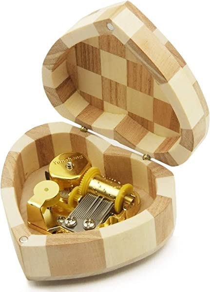 Wingostore Heart Shaped Music Box Wind Up And Golden Movement Music Box For Christmas Birthday Valentine S Day Melody You Are My Sunshine You Are My Sunshine