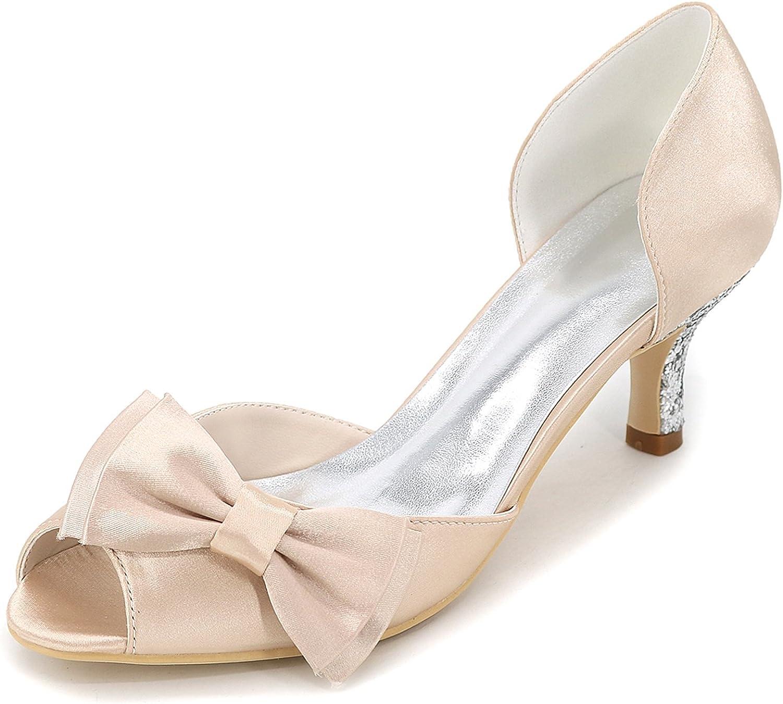 Elobaby Frauen Hochzeitsschuhe Kitten Heel handgefertigte Satin Peep Toe Plattform Braut   6cm Absatz